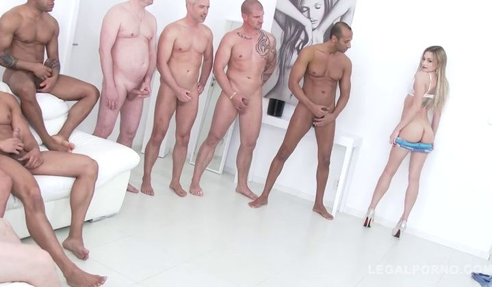 Olivia Devine Loves To Be Gangbang By 10 Guys & Swall